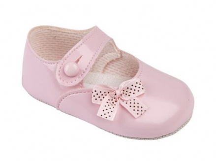Pram Shoe with Polka Dot Bow